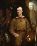 A portrait of George Catlin, in frontier attire, with paint brush and palette in hand. His painting of the black foot warrior Iron Horn and of The Woman Who Strikes Many, which can be seen behind him.