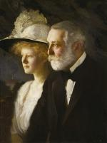 Beautiful oil on canvas profile portrait of Henry Clay Frick and his daughter Helen in formal dress.
