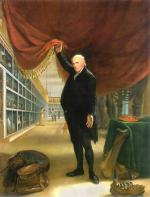 Charles Willson Peale's self portrait in his museum, lifting a curtain to show many artifacts.