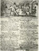 "In this jubilant political cartoon from the 1760s, members of the ""Old Ticket"" Quaker party - represented by ""Honest Old Ben"" in Council - gloat at their recent victory in a ""free election."""