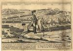 German engraving of Battle of Saratoga Depicting a large horse and rider as the focal point of an imaginary scene of the Battle of Saratoga.