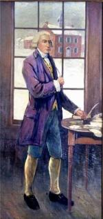 Color portrait of James Smith standing in front of a window, wearing a formal purple coat with blue knickers and white leggings.