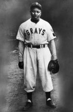 Josh Gibson poses in his Homestead Grays uniform in 1945.