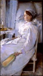 Oil on canvas depicting a frail woman sitting in a chair next to her bedside. A fan rests in her left hand.