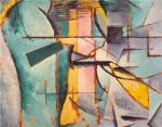 Yellow, teal and grays dominate this abstract painting.'