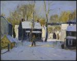 A snowy winter scene is the setting for this oil on composition board. '