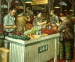 Produce market scene of booths filled with colorful food items and shoppers milling throughout.'