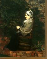 A profile of an elderly lady wearing a long dress, tan shawl, and a bonnet, sits knitting, in a chair on the brick patio of the garden.'