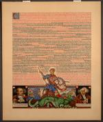 <i>Statut de Kalisz</i>, Illustrated version of the Charter of privileges for Jews in Poland, in 1264, with text showing portraits of Kazimierz Pulaski and Haym Salomon, as well as a scene of Saint George slaying the dragon.