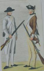 German colored engraving of American sharpshooter and Pennsylvania infantryman
