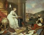 Liberty Displaying the Arts and Sciences painting depicts Lady Liberty and newly freed  African Americans surrounded by books, paint and palette, musical instruments and sheets of music, a world globe, and sculpture.