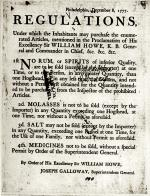 "Philadelphia, December 8, 1777 ""Regulations"" Broadside"