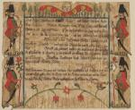The certificate of birth and baptism employs the Fraktur script and decoration characteristic of Pennsylvania legal documents. This one depicts four Hessian soldiers with their pigtails.