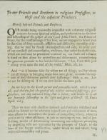 """To Our Friends and Brethren.""  Broadside page 1"