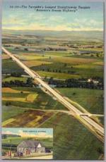 The Turnpike's longest straightaway tangent. America's Dream Highway. Only one curve broke this forty-mile stretch, which is west of Carlisle.'