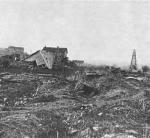 By 1870 Pithole was all but deserted, and most buildings were sold for scrap or abandoned. This view shows what was left of the town in 1883. Today, all that remains of the boomtown are cellar holes where buildings used to be.'
