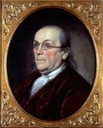 Oil on canvas portrait of Benjamin Franklin'