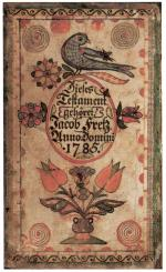 An ornate, hand-drawn bookplate, with birds, tulips, and gothic text in German.'
