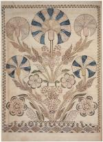 An delicate illustration of flowers in pale blues and greens, surrounded by an decorative border.'