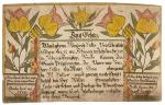 A blessing written in formal German is surrounded by a colorful border of tulips in reds and yellows.'