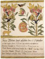 Ornate German text runs along the bottom of this certificate. Two stems of tulips illustrate the space above, both filled with colorful birds. At the bottom of one stem is a small cat-like animal.'