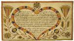 The German text of this document is enclosed in a heart shaped design; the area outside the heart is illustrated with flowers and leaves in reds, blues, greens and yellows'