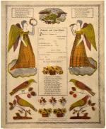 This commercially printed document is decorated with angels and birds around an enclosed area. In this area is space for personalization above a poem in German.'