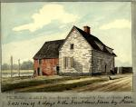 A watercolor of a small stone colonial house on the banks of a river.'