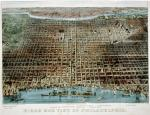 "A color lithograph ""bird's-eye-view"" map showing the Delaware River and the city of Philadelphia."