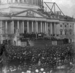 A view of Lincoln's first inaugural ceremony in Washington, March 4, 1861. The U.S. Capitol building was still under construction at the time.