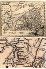 A 1756 map of the Pennsylvania area, with an enlarged detail of the territory in dispute during the war, then considered the western frontier. The path highlighted in red shows the approximate route General Braddock followed towards Fort Duquesne in his failed attempt to defeat French forces there. The route in blue shows the primitive Raystown Indian and Traders Path that General Forbes followed in 1758 to successfully capture the fort.