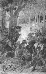 Washington returned to the Pennsylvania frontier in the spring of 1754 to again request, this time more forcefully, that the French give up their claim to the territory. This etching illustrates his first skirmish against the French, who were under the command of Ensign Jumonville. Washington defeated the French in this battle, only to surrender to a superior French force at Fort Necessity a few days later.