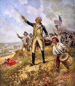 "Like many soldiers in the Revolution, Lafayette was a very inexperienced young man when he first participated in battle, illustrated here in a painting titled ""Lafayette's Baptism of Fire."""