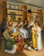 This painting shows a barefoot black woman ladling cups of soup from a pot for her white customers.'