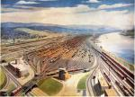 Conway Yard, Electronics in Railroading,  by Grif Teller This painting illustrates only half of the yard, which consisted of 197 tracks. Tracks are filled with cars, a water tower, as well as the town, are visible to the far left of the painting.