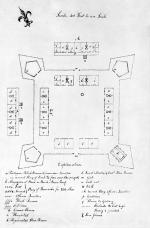 Line drawing of Fort Fayette with detailed listing of buildings.  Built in 1792.