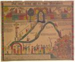 """A colorful Fraktur depicting Christians ascending a steep path to a New Jerusalem that resembles a medieval German city.  Some souls almost reached the throne of God (in the center), but wavered at the end. Their fate is the hellfire where soldiers, musicians, a Jewish peddler, and other sinners are marching to meet the devil after passing """"die Babylonische Hure""""[FIX ME '–""""""""""""]the whore of Babylon–who is holding the Pope's crown."""