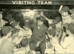 Black and white baseball card of the Pennsylvania Championship team from Monongahela and Branch Rickey in the dugout.'