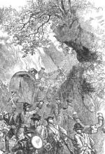 An etching depicting the ambush of Braddock's forces south of Fort Duquesne.