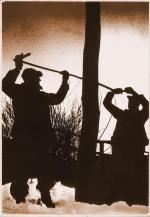 Dark image of shadowy figures sawing down a telephone pole