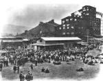Employees gather at the Olyphant Colliery, Olyphant, Lackawanna County, on payday in 1915.