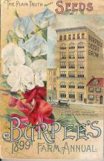 Burpee's Farm Annual front cover. Has a photo of the factory building. '