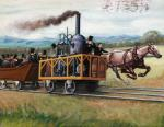 Tom Thumb Locomotive : Illustration of a Race Between a Locomotive and a Horse-Drawn Car