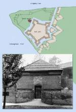 This blockhouse is the only surviving structure of Fort Pitt. The drawing shows the position of the blockhouse in relation to the fort when it was standing.
