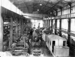 Interior of Climax factory, showing locomotives.