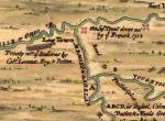 "A detail from a 1754 map showing ""Log Town."""