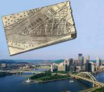 A map of Pittsburgh from 1795, showing the position of Fort Pitt, the outline of Fort Duquesne, and the surrounding settlement. The lower photo shows the same area today.
