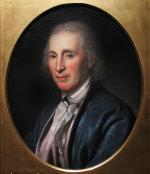 Oil on canvas, head and shoulders portrait of David Rittenhouse placed in an oval frame. '