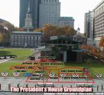NPS archaeologist Jed Levin and IHA historian Ed Lawler marked the full-sized outline of the President's House in the entrance plaza of the Liberty Bell Center for an October 30, 2004 public forum on the site.