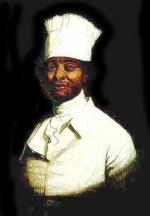 Oil on canvas of a black man in a chef uniform.